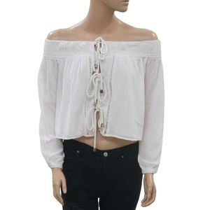 Free People Smocked Off Shoulder White Top XS